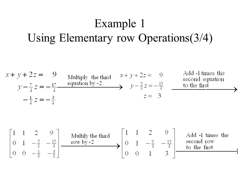 Example 1 Using Elementary row Operations(3/4)