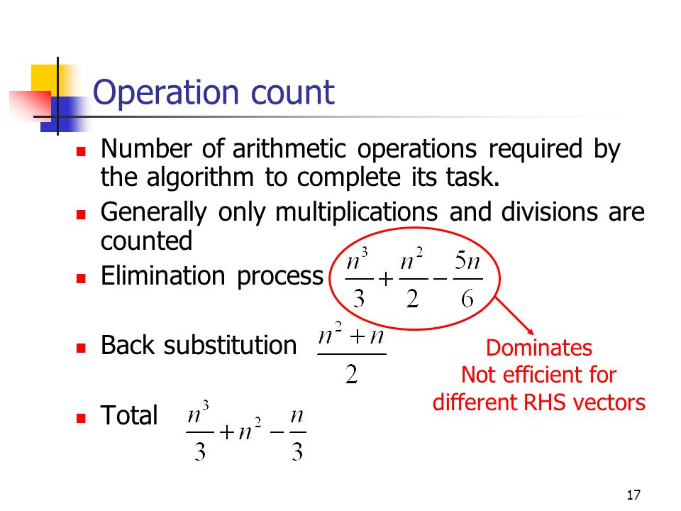 Operation count Number of arithmetic operations required by the algorithm to complete its task.