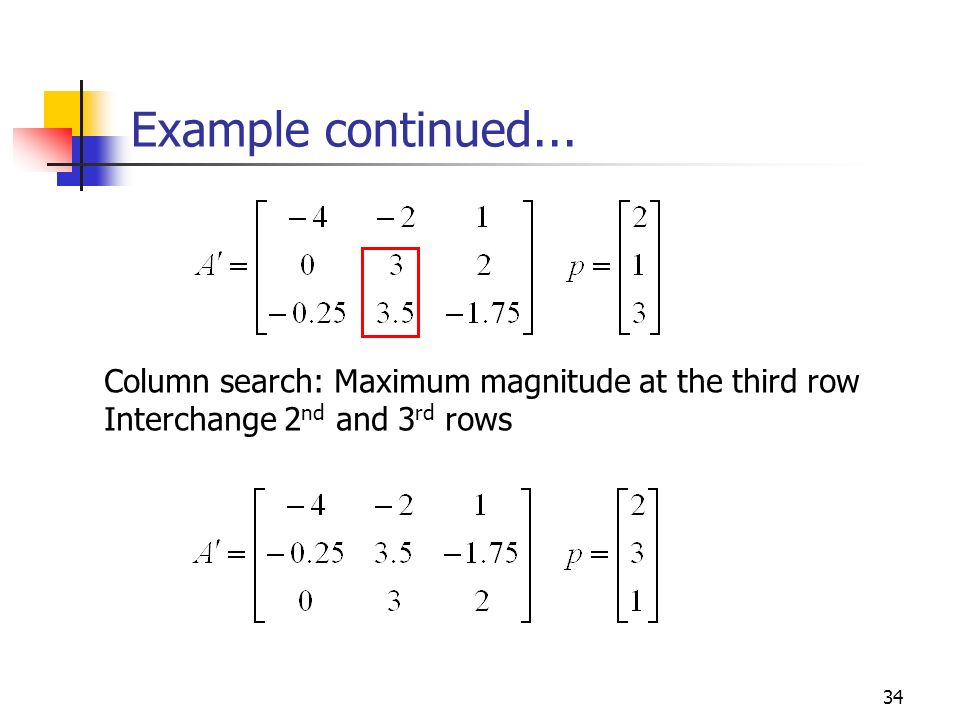 Example continued... Column search: Maximum magnitude at the third row