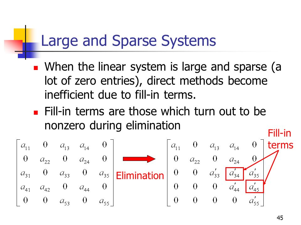 Large and Sparse Systems