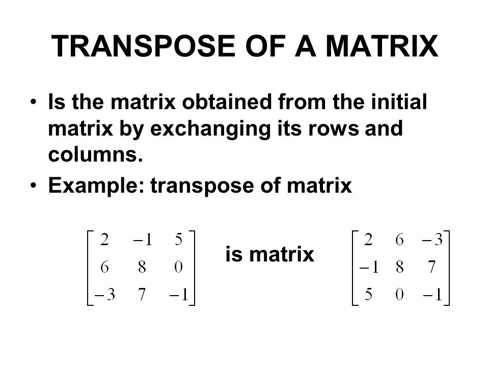TRANSPOSE OF A MATRIX Is the matrix obtained from the initial matrix by exchanging its rows and columns.