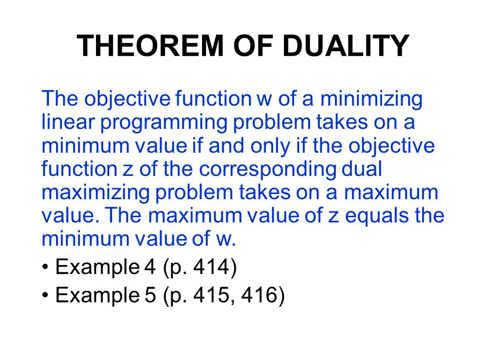THEOREM OF DUALITY