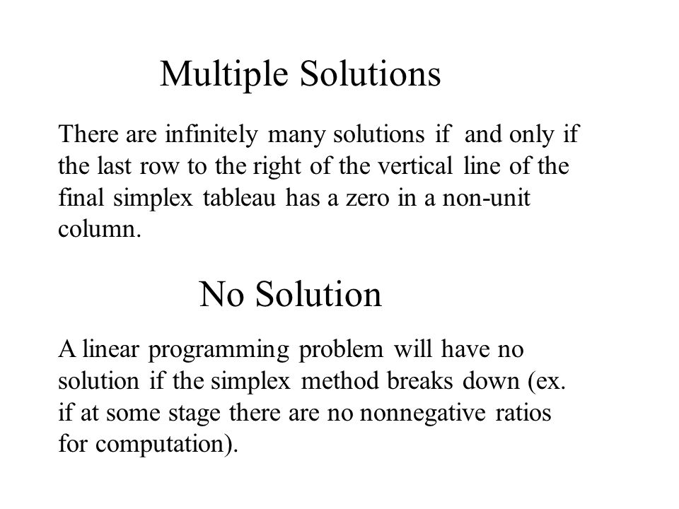 Multiple Solutions No Solution