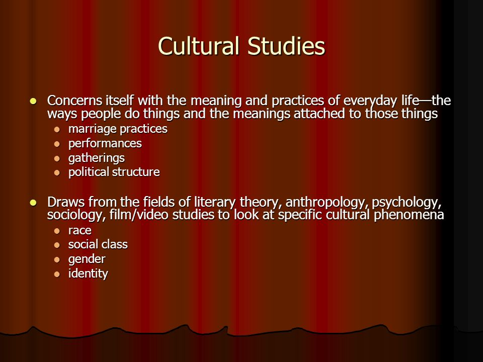 Cultural Studies Concerns itself with the meaning and practices of everyday life—the ways people do things and the meanings attached to those things.