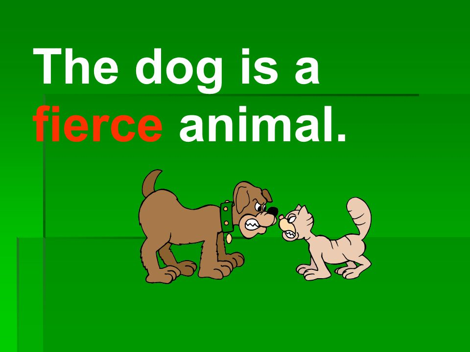 The dog is a fierce animal.