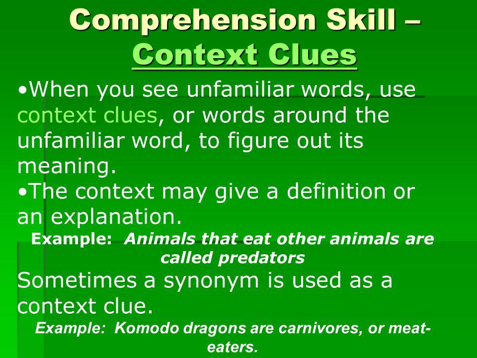 Comprehension Skill – Context Clues