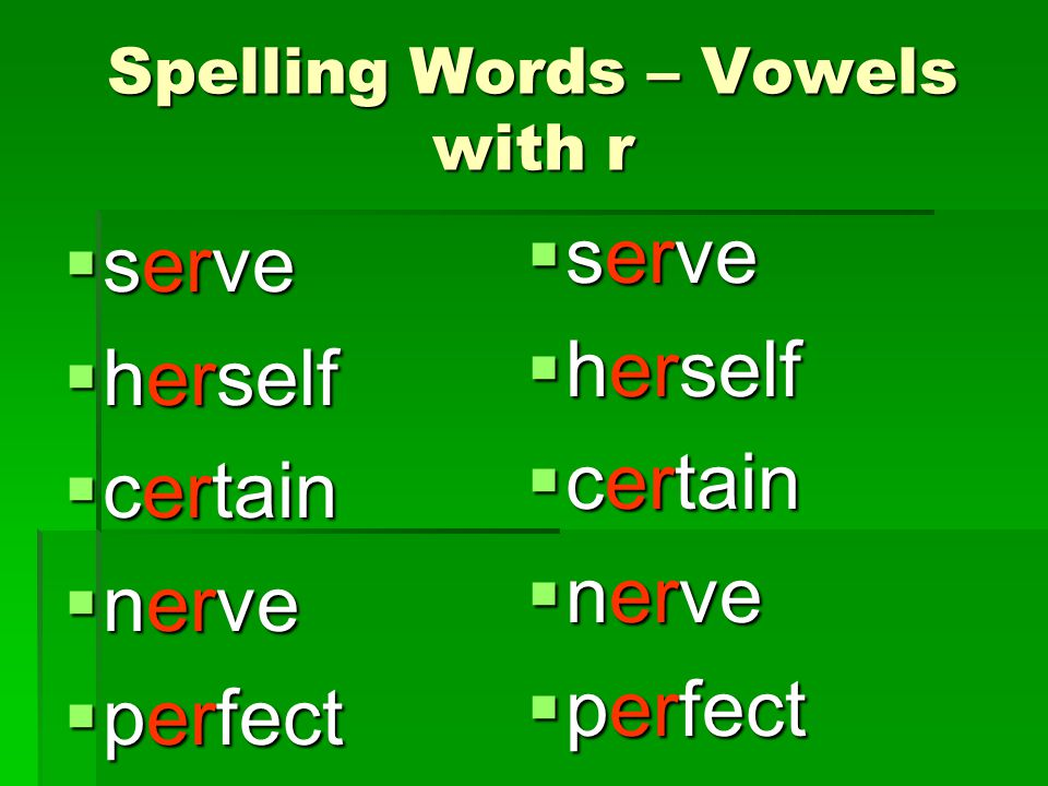 Spelling Words – Vowels with r