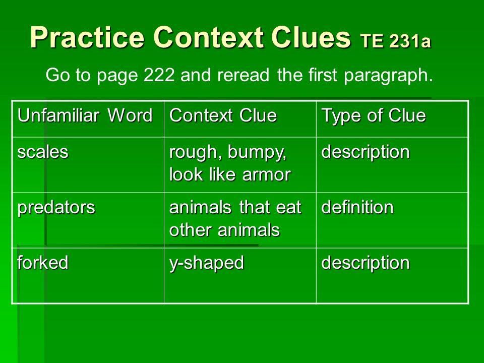 Practice Context Clues TE 231a