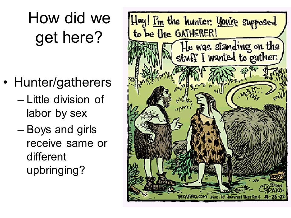 How did we get here Hunter/gatherers Little division of labor by sex