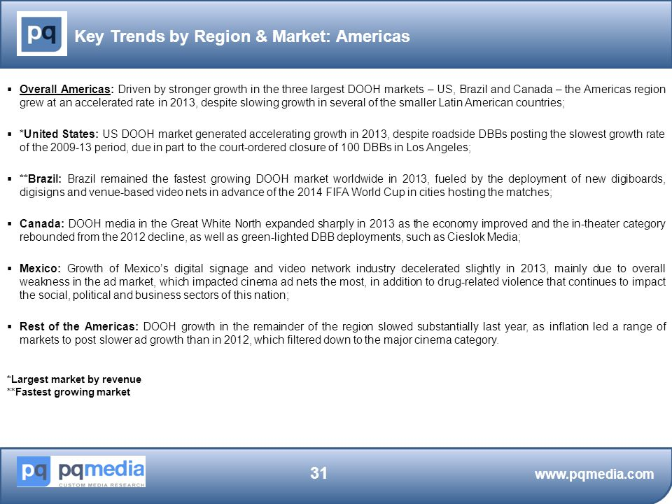 Key Trends by Region & Market: Americas