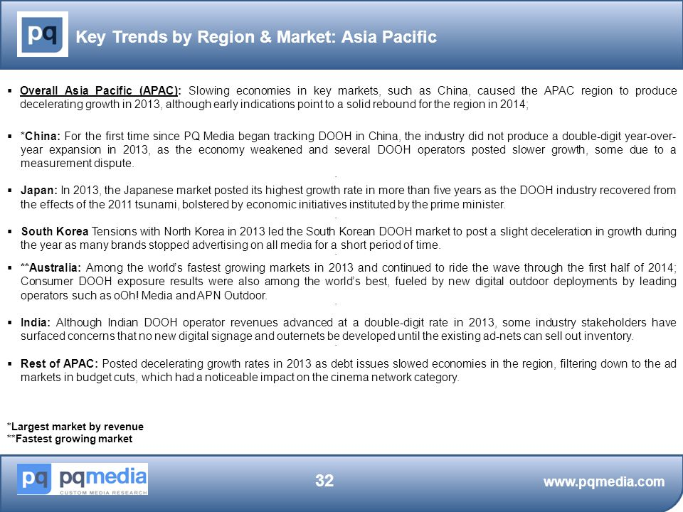 Key Trends by Region & Market: Asia Pacific