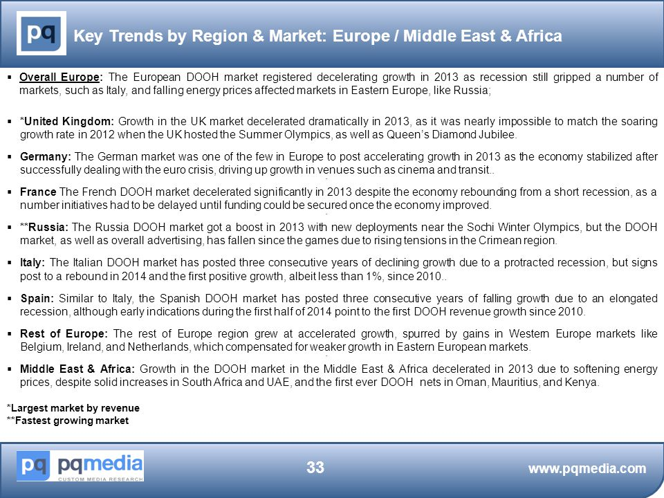 Key Trends by Region & Market: Europe / Middle East & Africa