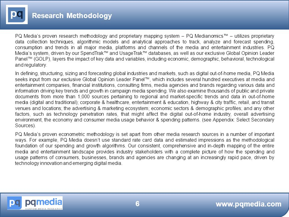 Research Methodology www.pqmedia.com