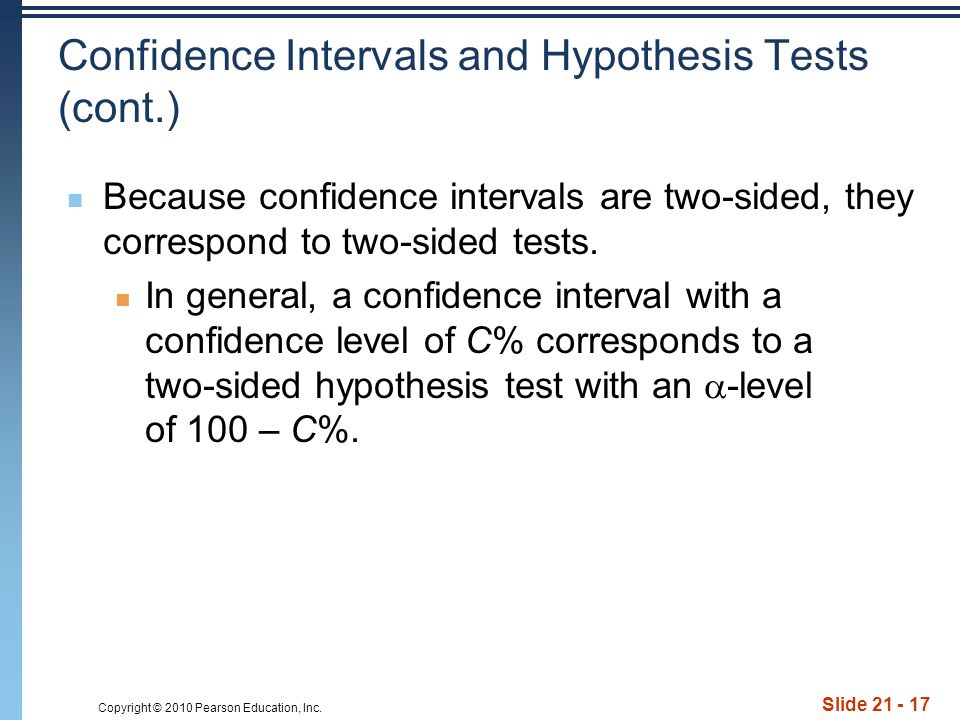 the relationship between confidence intervals and hypothesis tests