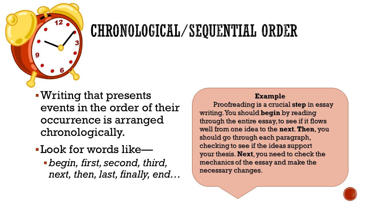chronological order in writing essays