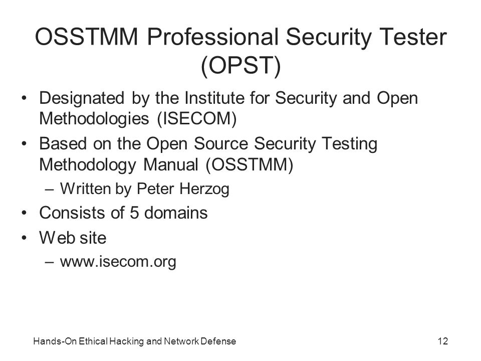 open source security testing methodology manual