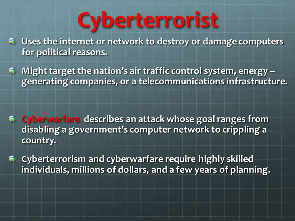 Cyberterrorist Uses the internet or network to destroy or damage computers for political reasons.