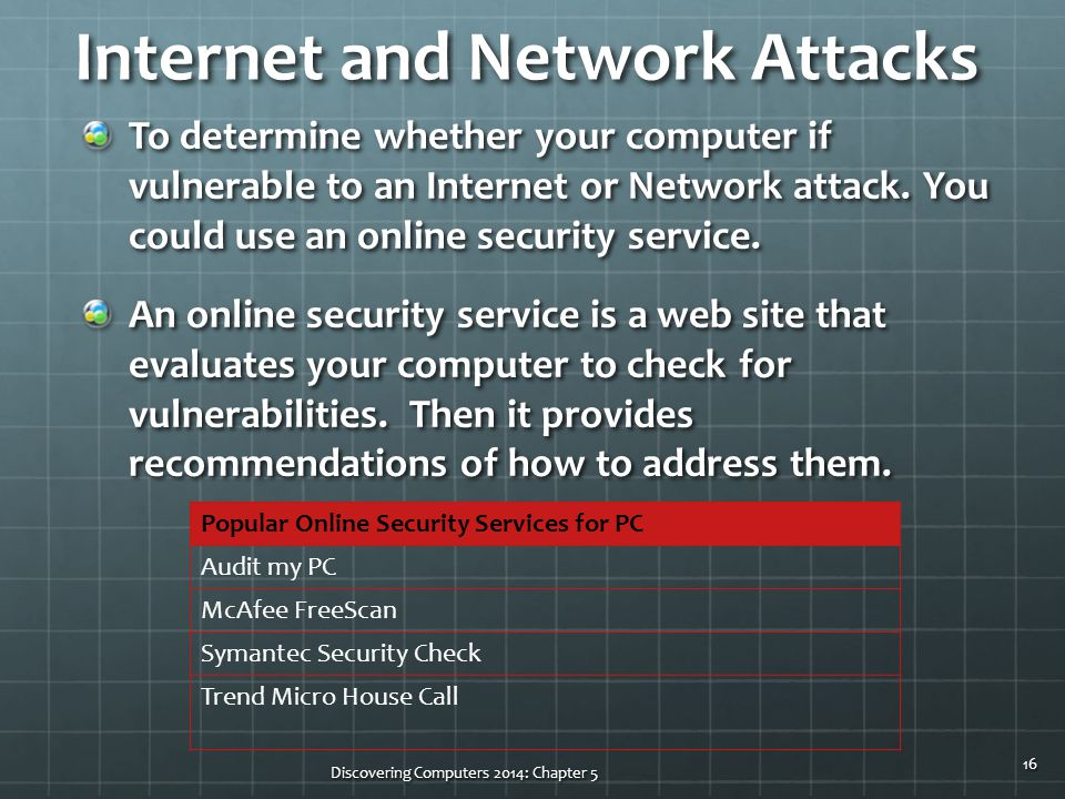 Internet and Network Attacks