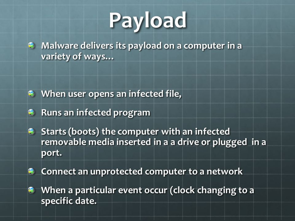 Payload Malware delivers its payload on a computer in a variety of ways… When user opens an infected file,