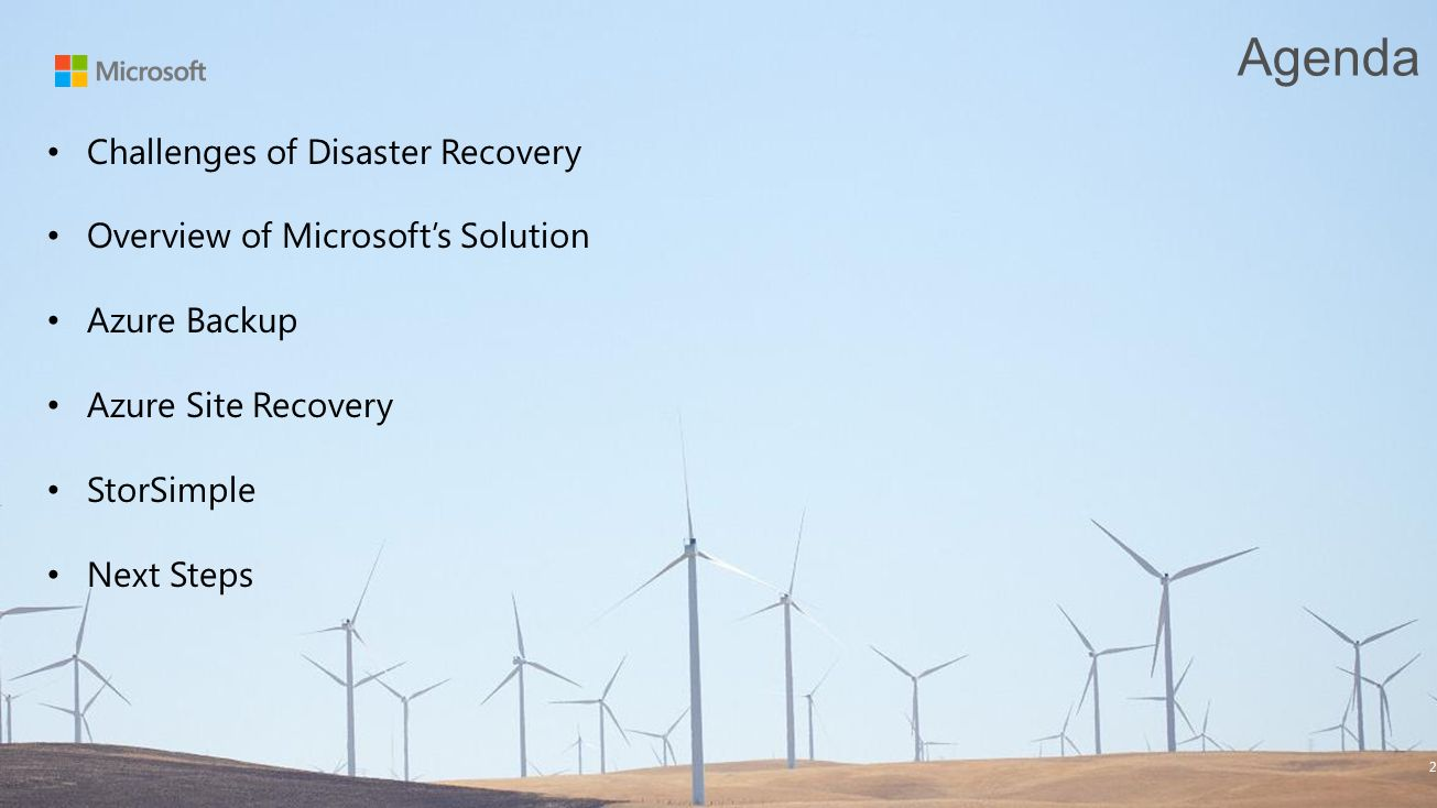 Agenda Challenges of Disaster Recovery
