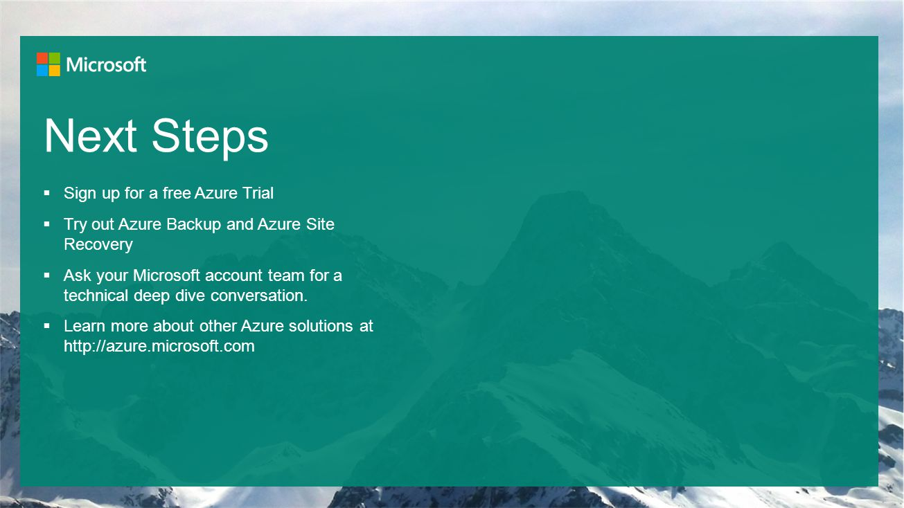 Next Steps Sign up for a free Azure Trial