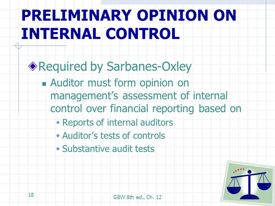 PRELIMINARY OPINION ON INTERNAL CONTROL
