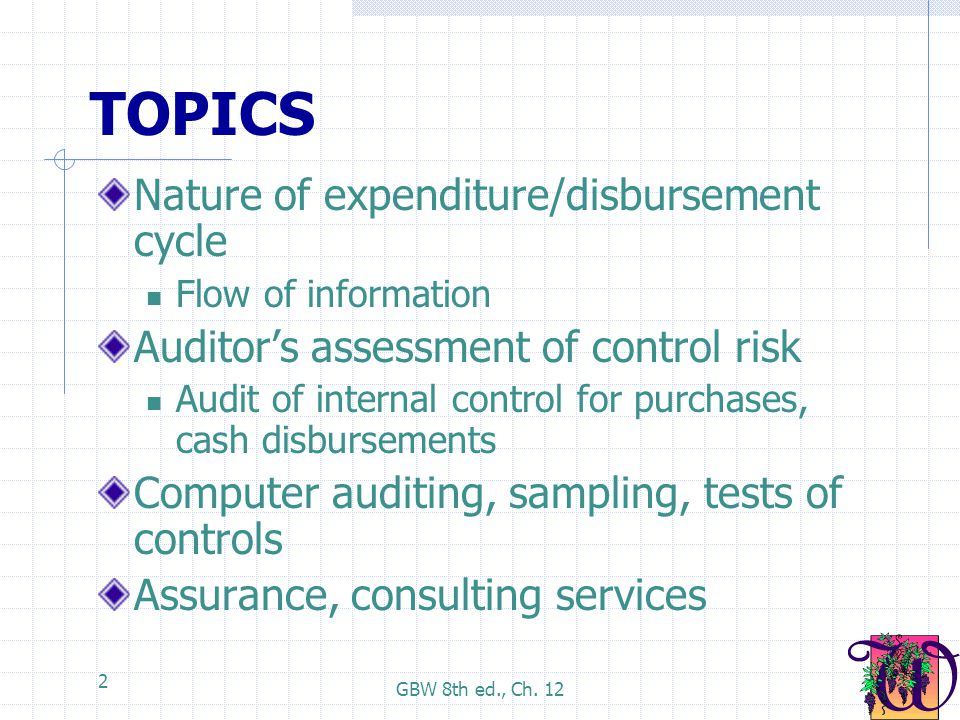 TOPICS Nature of expenditure/disbursement cycle