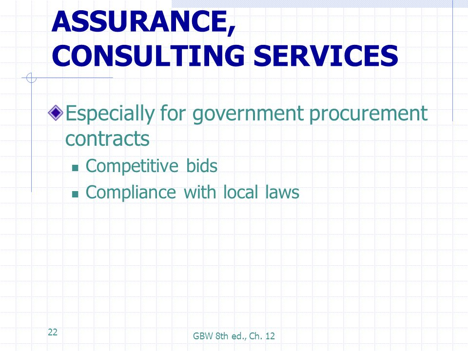 ASSURANCE, CONSULTING SERVICES