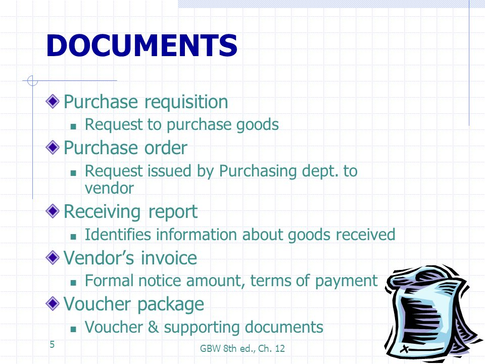 DOCUMENTS Purchase requisition Purchase order Receiving report