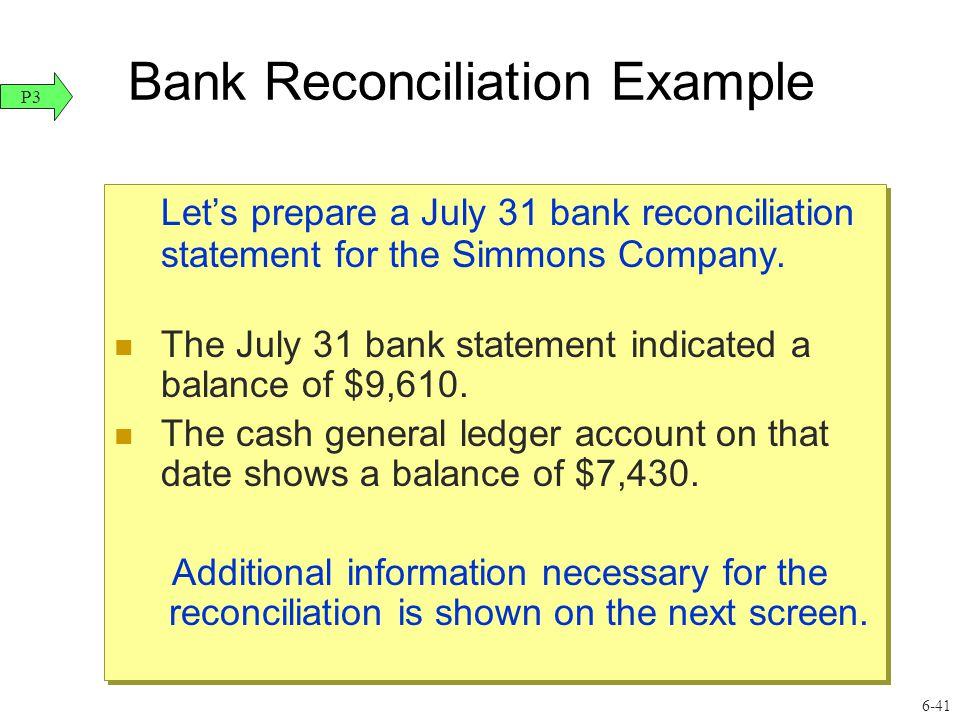 41 Bank Reconciliation Example