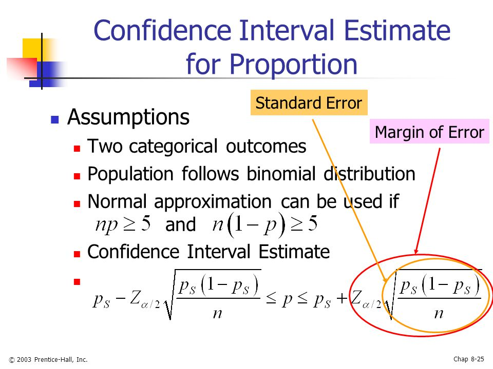 math normal distribution and confidence interval These confidence intervals are of the confidence level 1 − α, meaning that the true values μ and σ 2 fall outside of these intervals with probability (or significance level) α in practice people usually take α = 5% , resulting in the 95% confidence intervals.