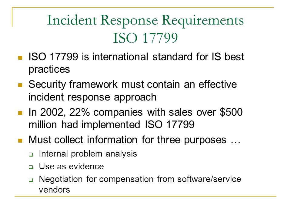 Incident Response Requirements ISO 17799