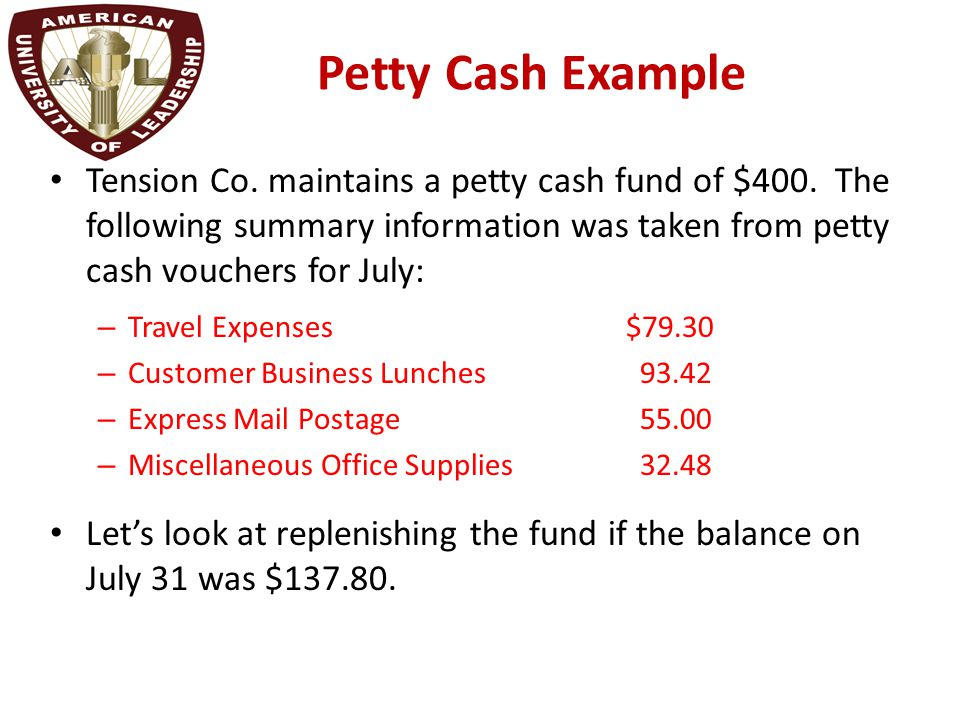 Chapter 2 Reporting and Analyzing Cash and Internal Controls ppt – Example of Petty Cash Voucher