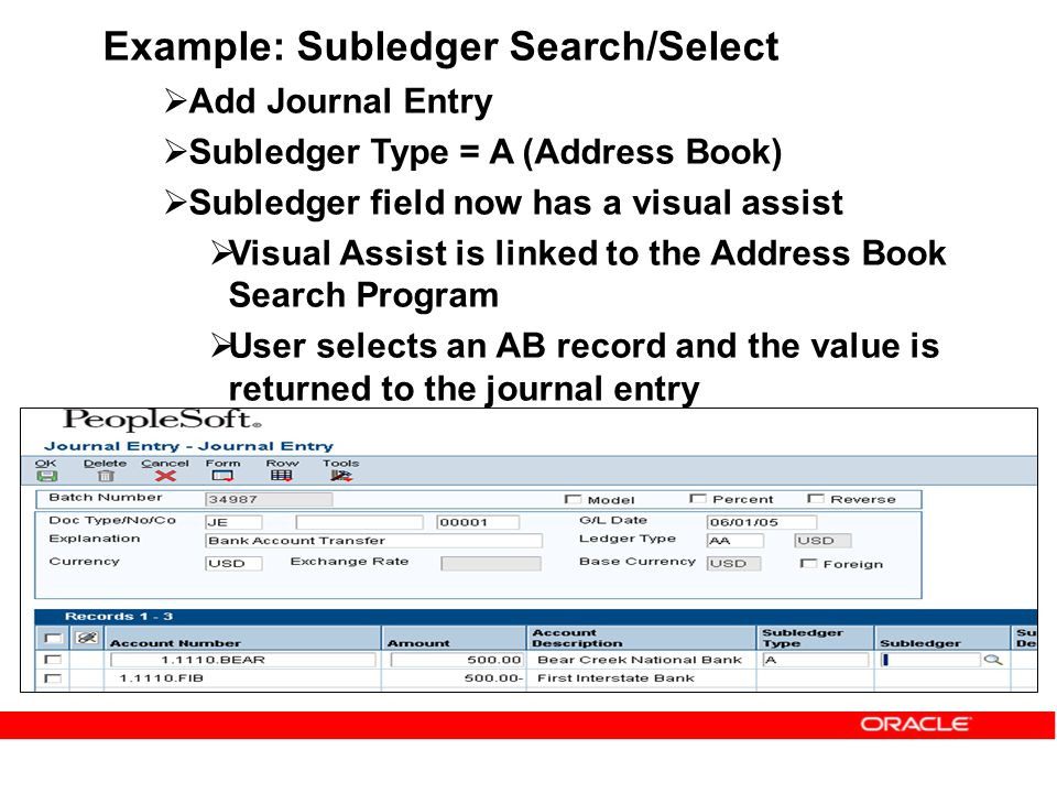 Example: Subledger Search/Select