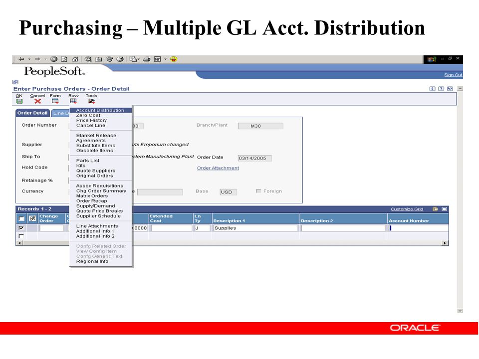 Purchasing – Multiple GL Acct. Distribution