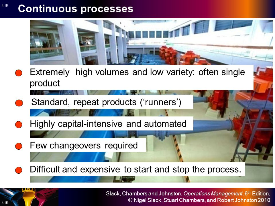 Continuous processes Extremely high volumes and low variety: often single product. Standard, repeat products ('runners')