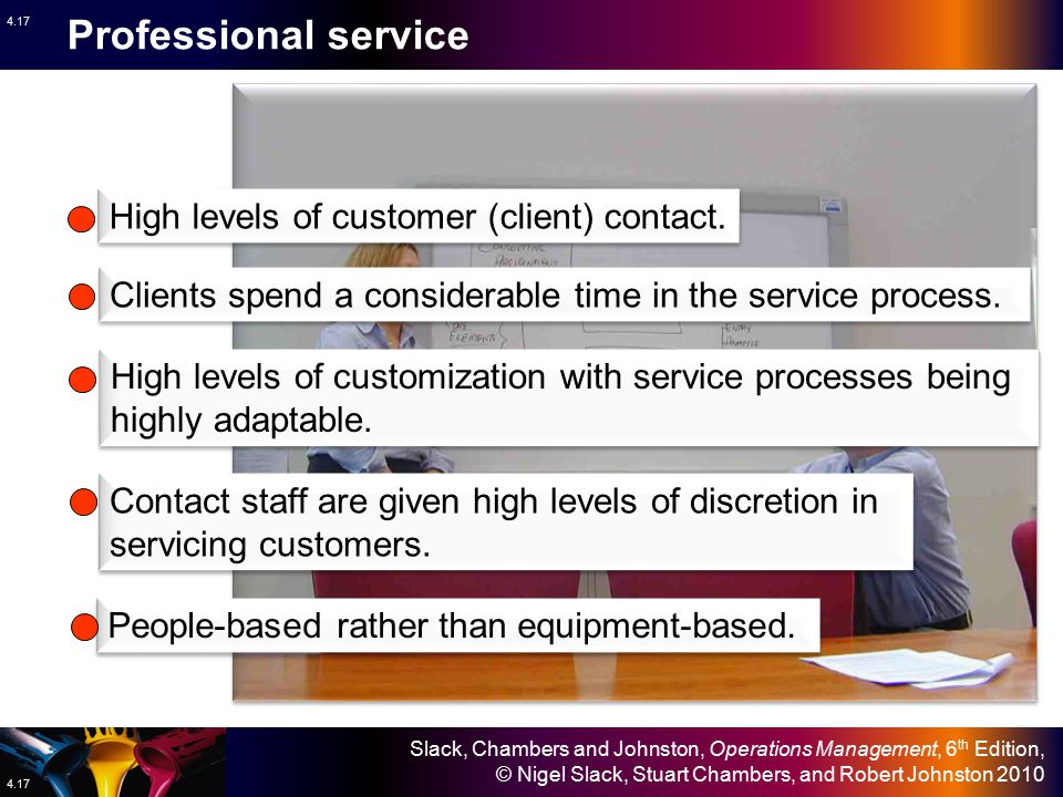 Professional service High levels of customer (client) contact.