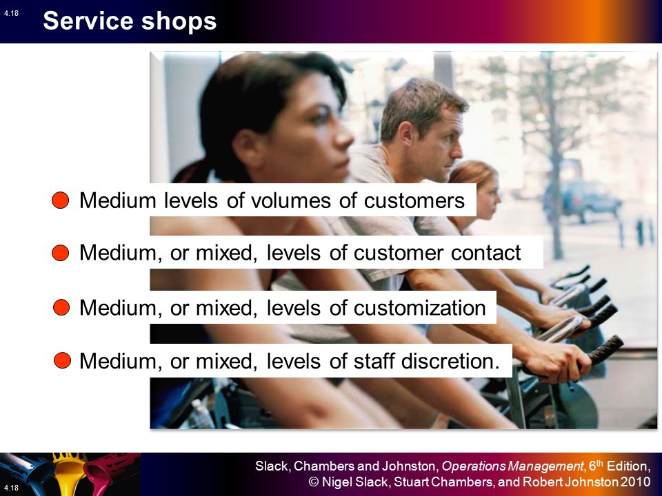 Service shops Medium levels of volumes of customers