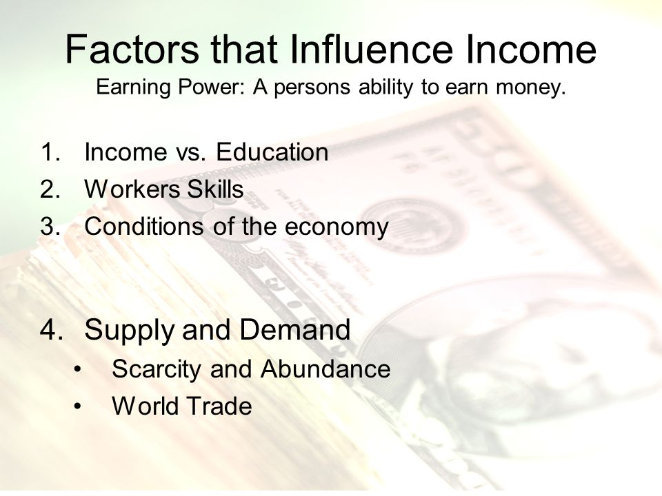 factors that influences the demand for What factors affect demand in section 2, you will • determine a change in quantity demanded the income effect also influences behavior when prices rise.