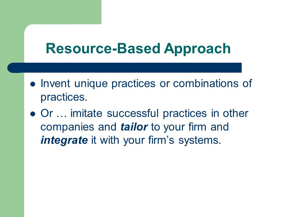 Resource-Based Approach