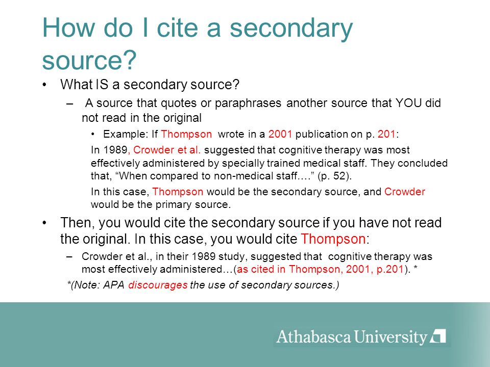 Apa 6th citing secondary sources