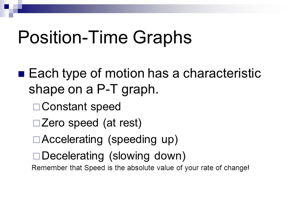 Position-Time Graphs Each type of motion has a characteristic shape on a P-T graph. Constant speed.