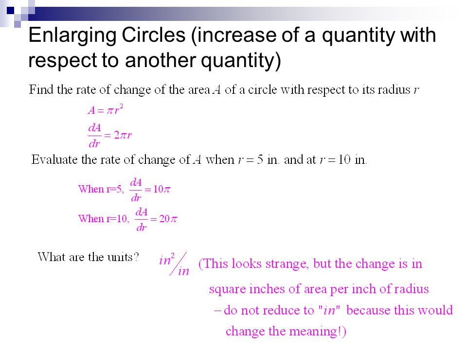 Enlarging Circles (increase of a quantity with respect to another quantity)