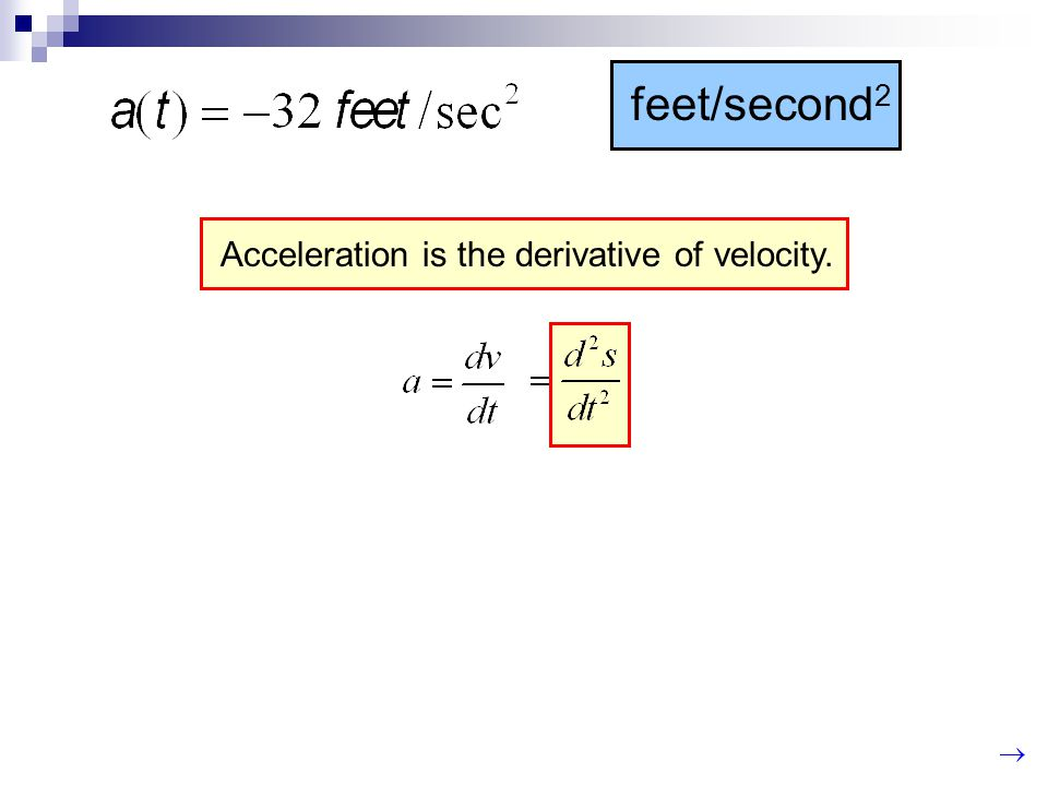 feet/second2 Acceleration is the derivative of velocity.