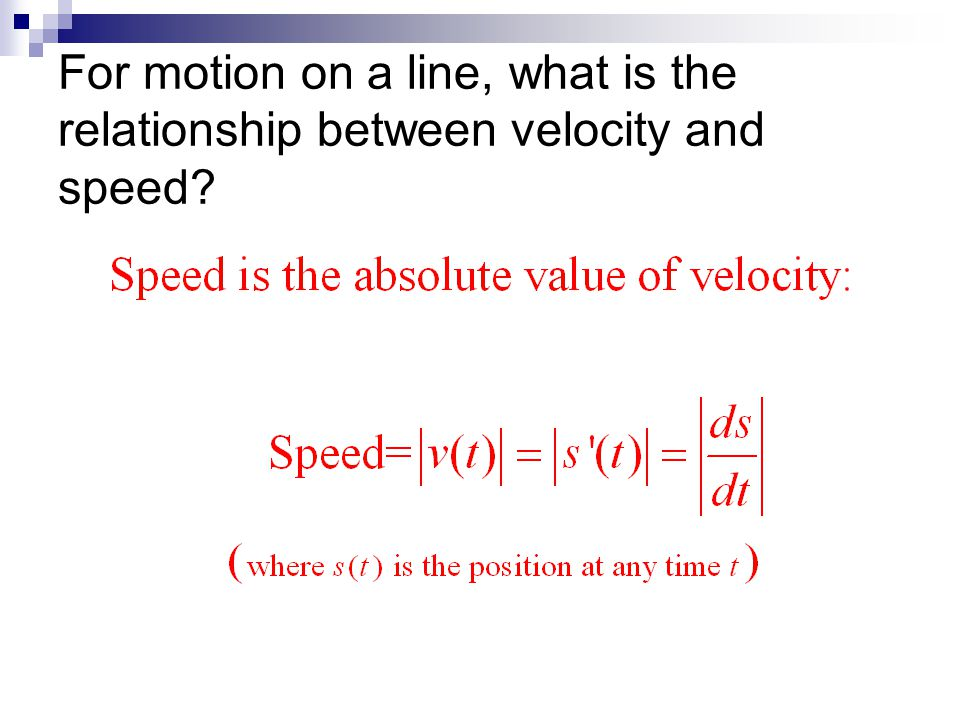 For motion on a line, what is the relationship between velocity and speed