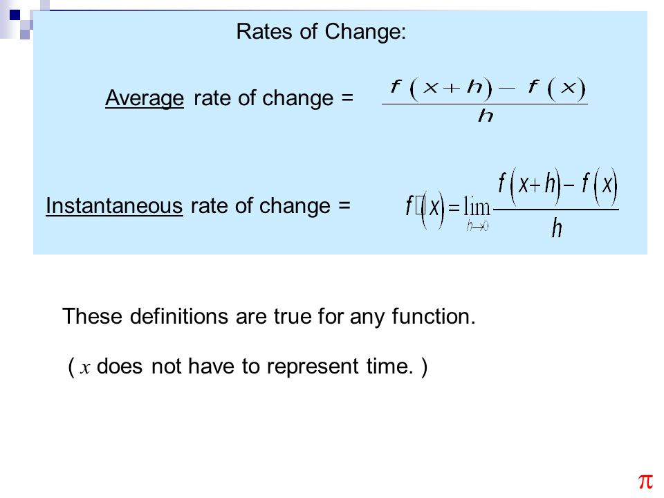 p Rates of Change: Average rate of change =