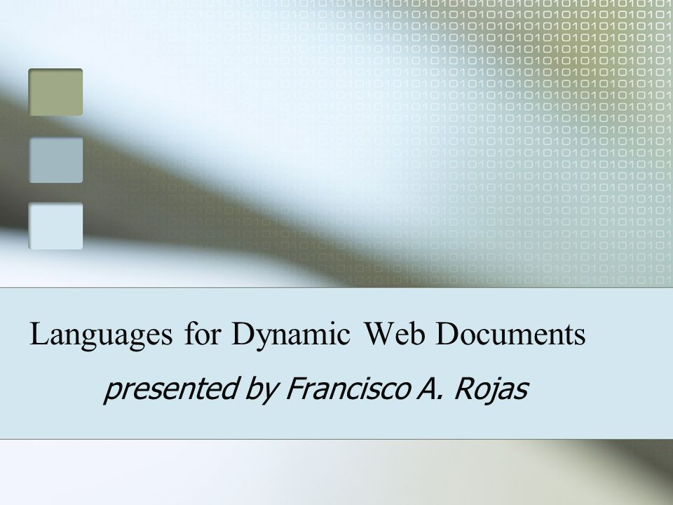 Languages for Dynamic Web Documents