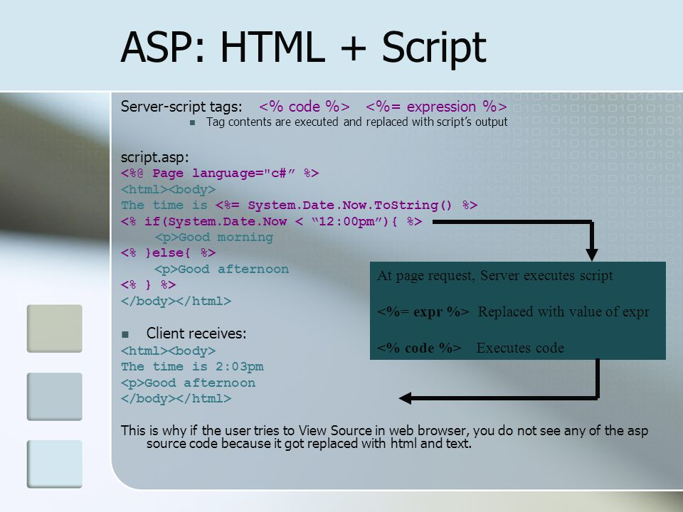 ASP: HTML + Script Server-script tags: <% code %> <%= expression %> Tag contents are executed and replaced with script's output.