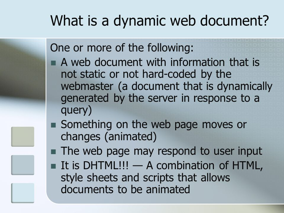 What is a dynamic web document