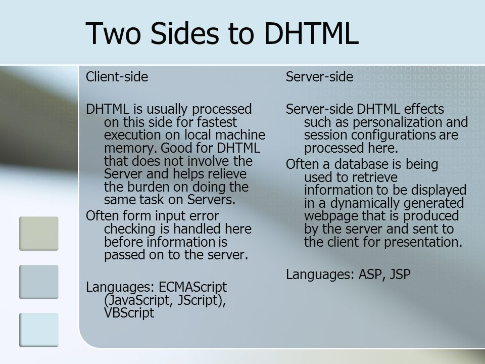 Two Sides to DHTML Client-side